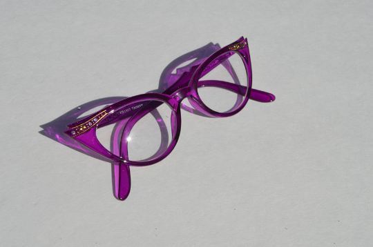 Cat eyes non prescription in purple side view
