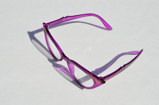 Cat eyes non prescription in purple diagonal view
