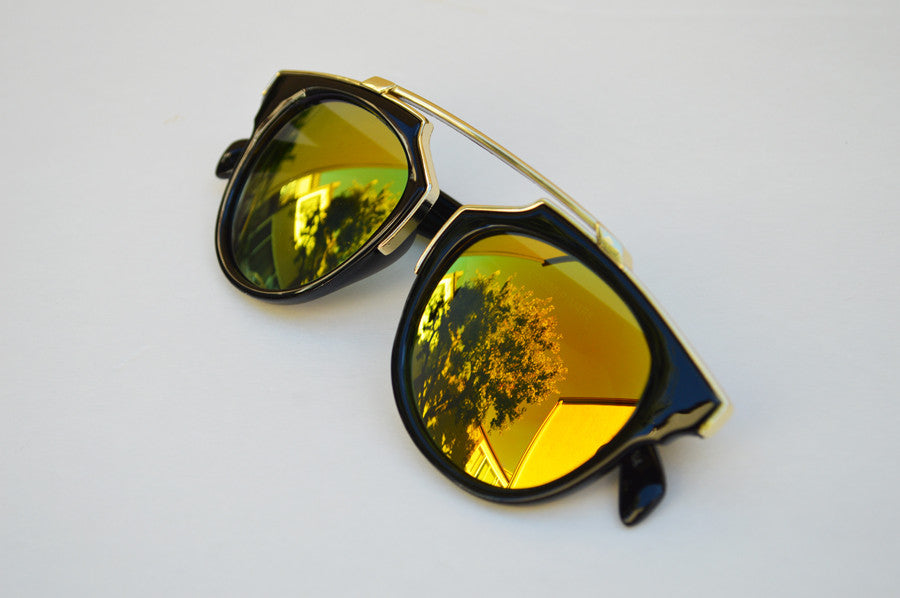 Cat eyes High Fashion Round Metallic Mirror Sunglasses gold