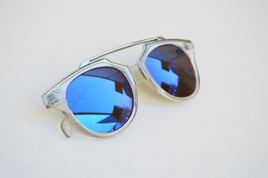 Cat eyes High Fashion Round Metallic Mirror Sunglasses blue