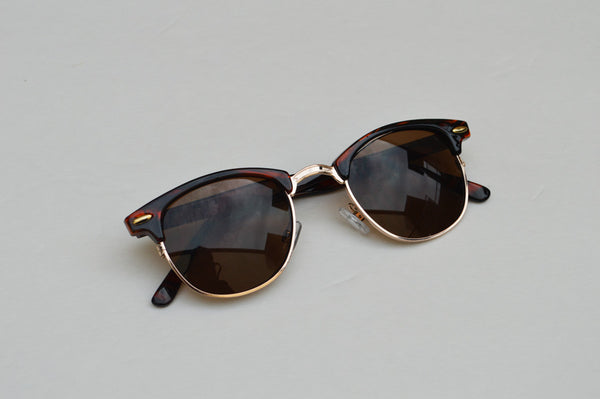Deadstock Dark Brown Unisex Sunglasses With Gold Accent main