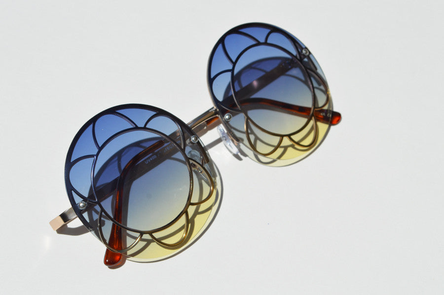 Round Oversized Sunglasses Janis Joplin Festival  Colorful Lense blue yellow