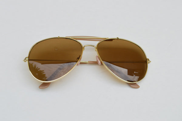Aviator Classic Dark Brown Frames Sunglasses In Gold main