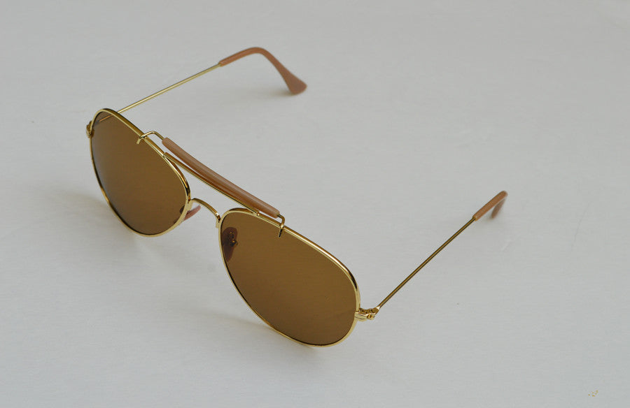 Aviator Classic Dark Brown Frames Sunglasses In Gold view