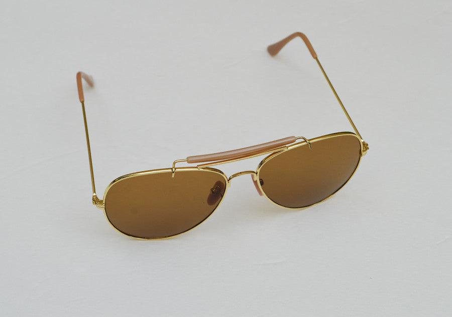 Aviator Classic Dark Brown Frames Sunglasses In Gold top