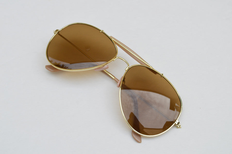 Aviator Classic Dark Brown Frames Sunglasses In Gold side