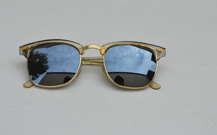 Deadstock Dark Frame Unisex Sunglasses With Gold Accents front