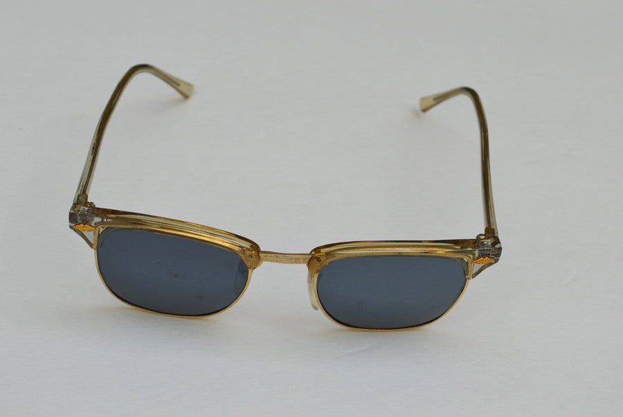 Deadstock Dark Frame Unisex Sunglasses With Gold Accents top