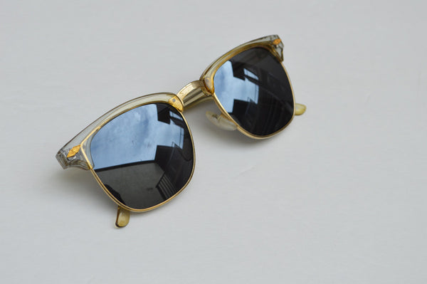 Deadstock Dark Frame Unisex Sunglasses With Gold Accents main