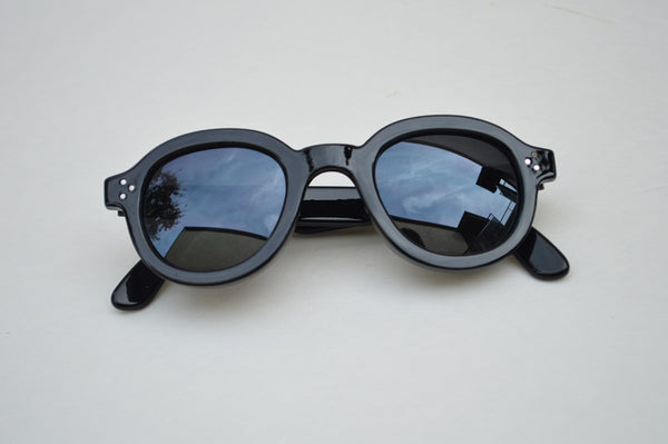 Round Grunge Black Retro Unisex MAIN Sunglasses