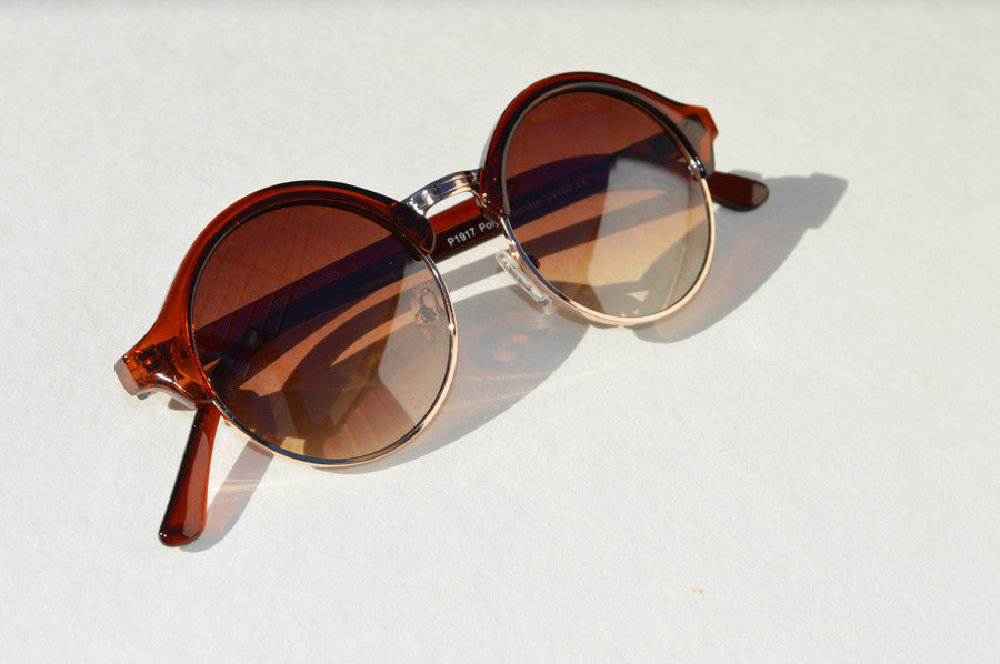 Round Retro with Half Frame Unisex Sunglasses brown