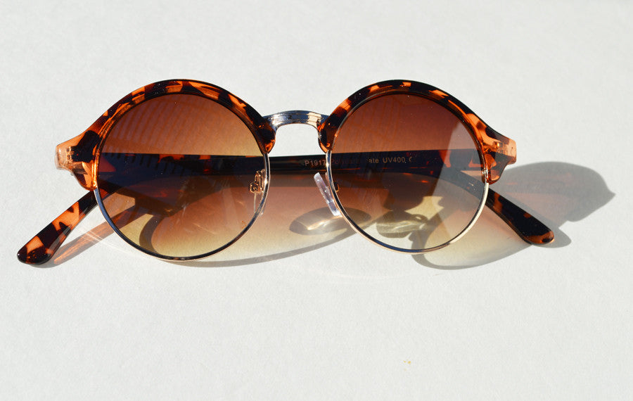 Round Retro with Half Frame Unisex Sunglasses Tortoise