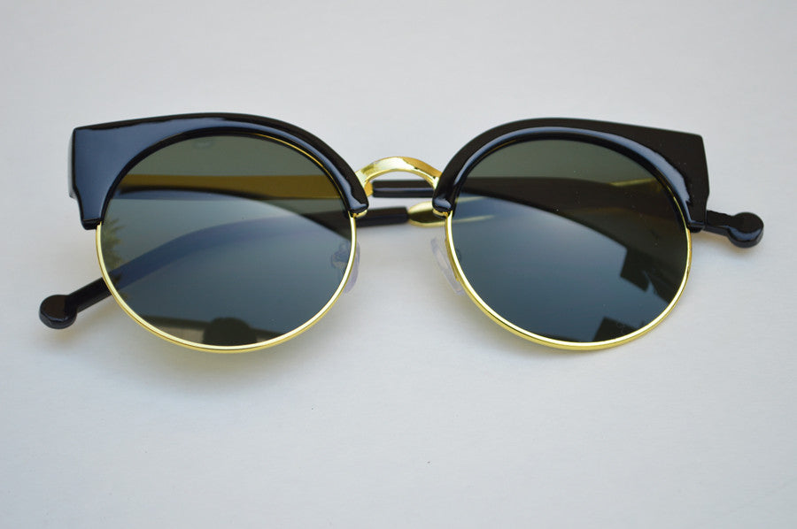 Round Half Frame Dark Lense With Gold Metallic Accents Sleek Sunglasses