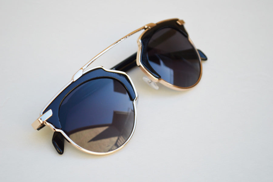 Cat eyes High Fashion Round Metallic Mirrored Sunglasses black