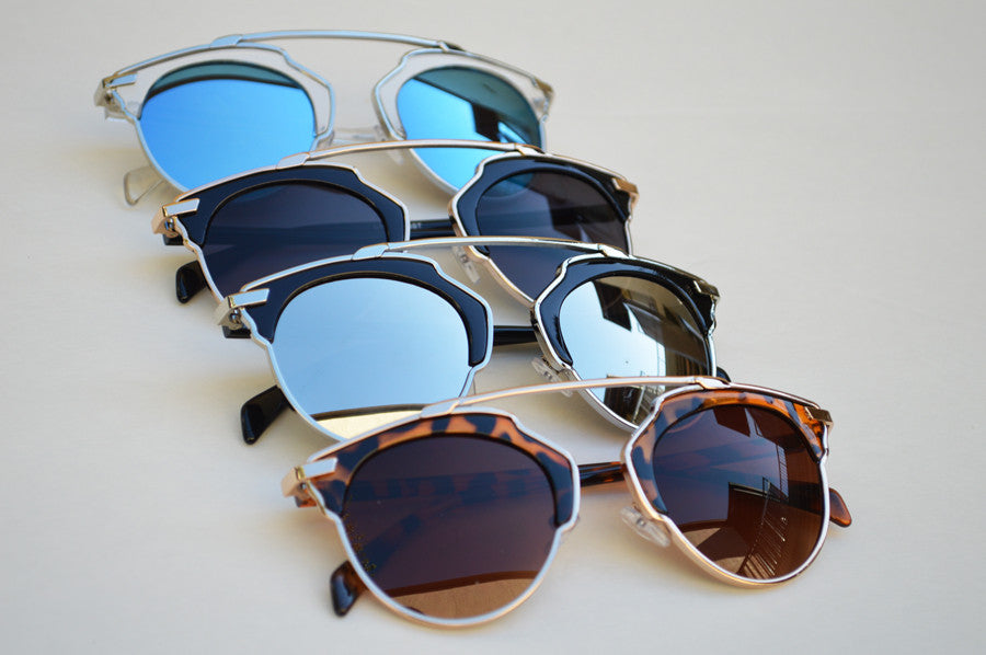 Cat eyes High Fashion Round Metallic Mirrored Sunglasses combo