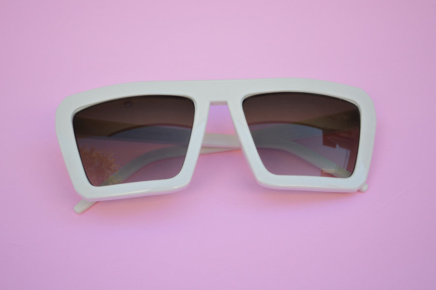 Retro Square 1980's Flat Top Cool Sunglasses main
