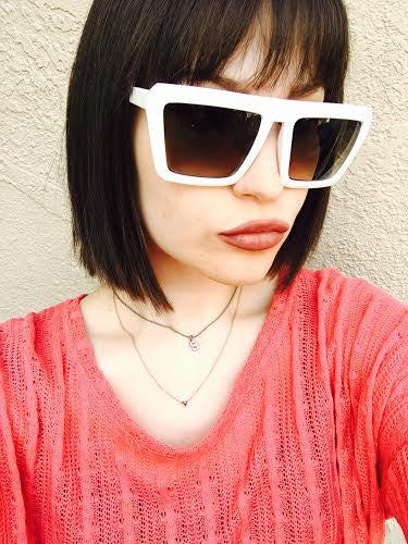 Retro Square 1980's Flat Top Cool Sunglasses in White front