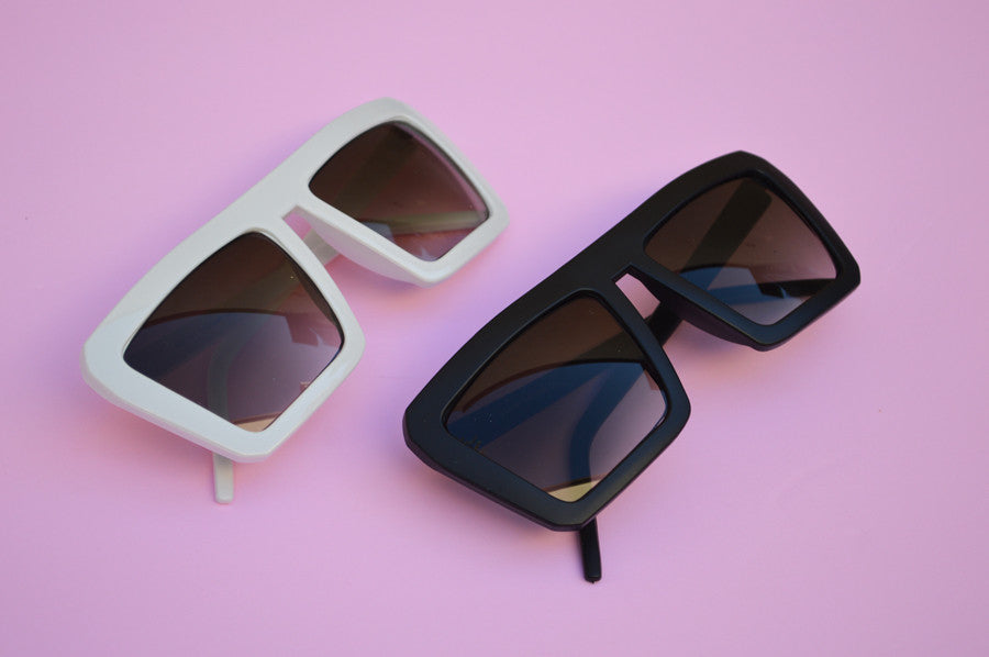 Retro Square 1980's Flat Top Cool Sunglasses combo