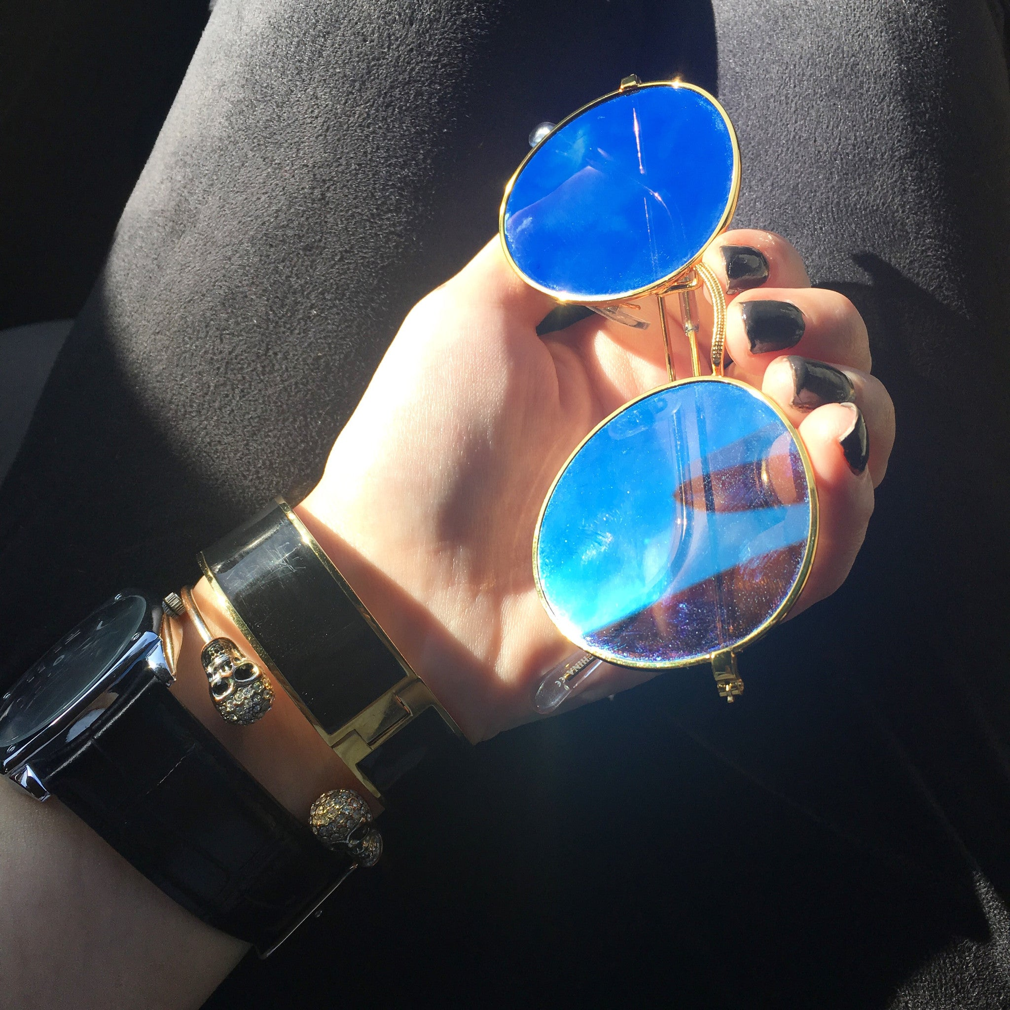 Round Metallic Mirror Sunglasses -All metal