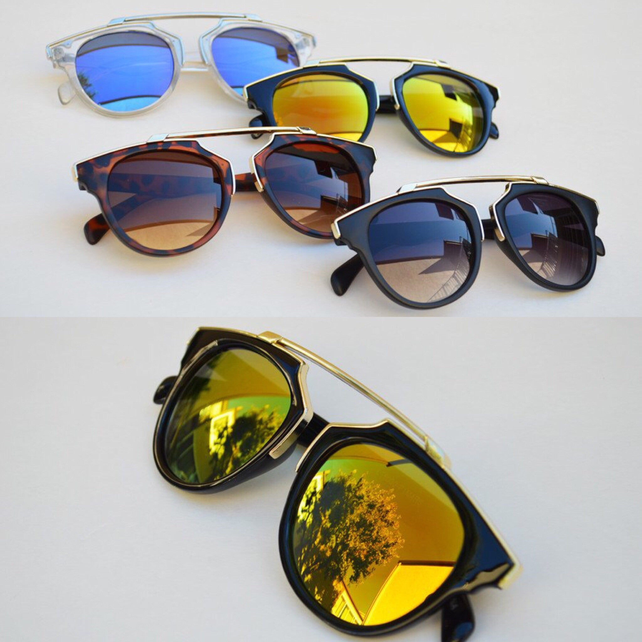 Cat eyes High Fashion Round Metallic Mirror Sunglasses