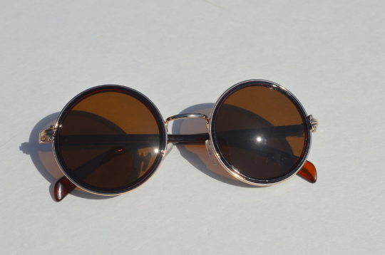 John Lennon sunglasses in round Brown Gold front view