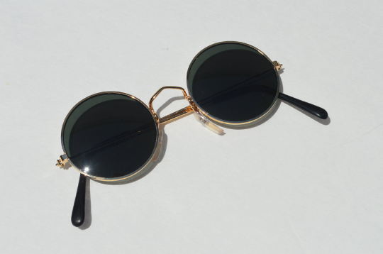 John Lennon sunglasses in round Gold flat view