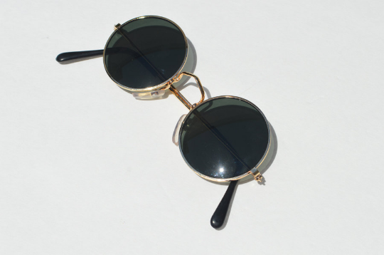 John Lennon sunglasses in round Gold side view