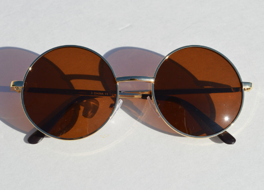 John Lennon sunglasses in round Gold unisex front view