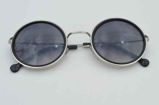 John Lennon sunglasses in round black  silver front  view
