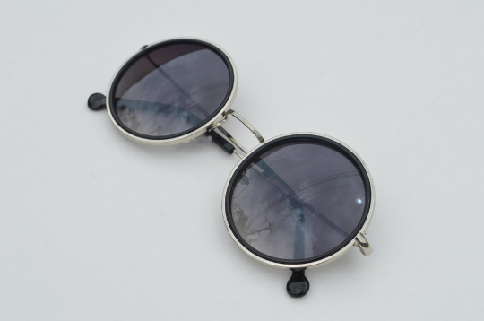 John Lennon sunglasses in round black  silver side view