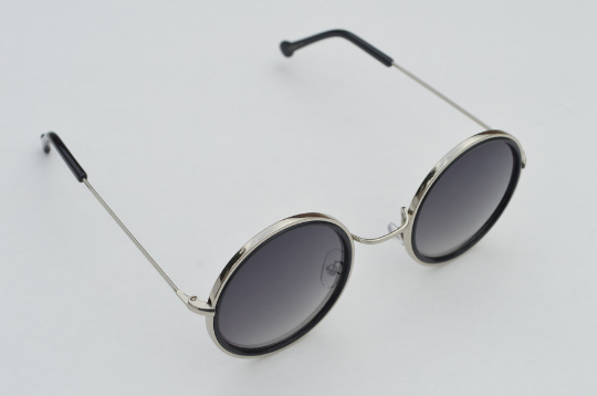 John Lennon sunglasses in round black  silver main view