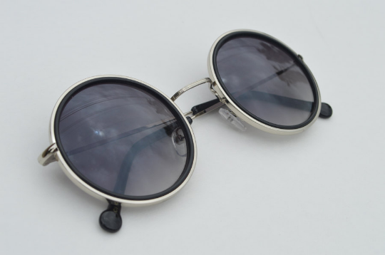 John Lennon sunglasses in round black  silver diagonal  view