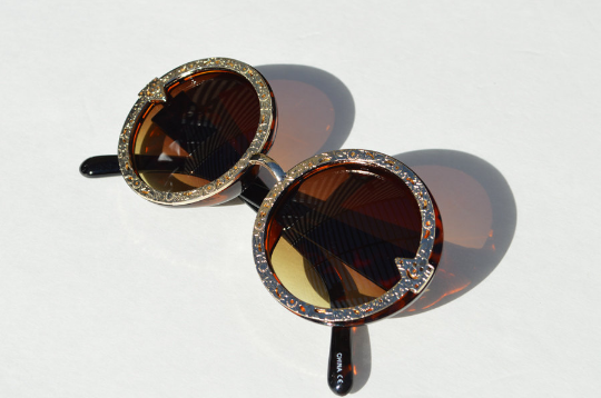 Oversized Sunglasses Round Tortoise with Silver Boho Floral Metallic Accents