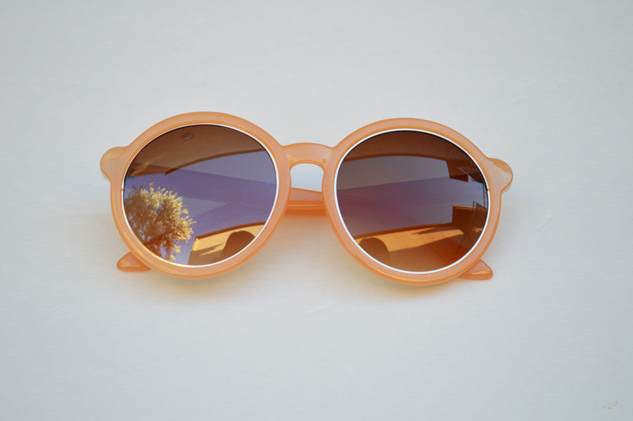 Round Oversized Sunglasses in Peach With Gold Accents main