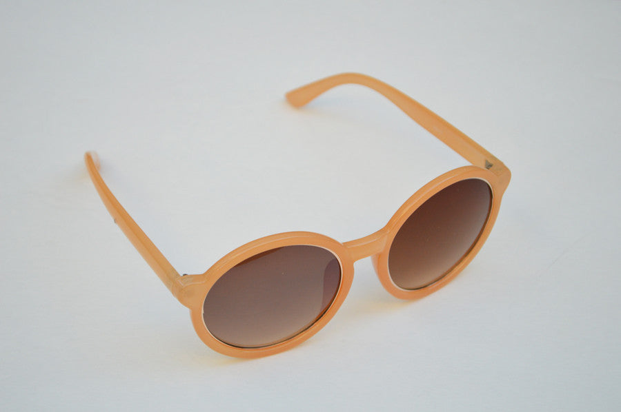 Round Oversized Sunglasses in Peach With Gold Accents second