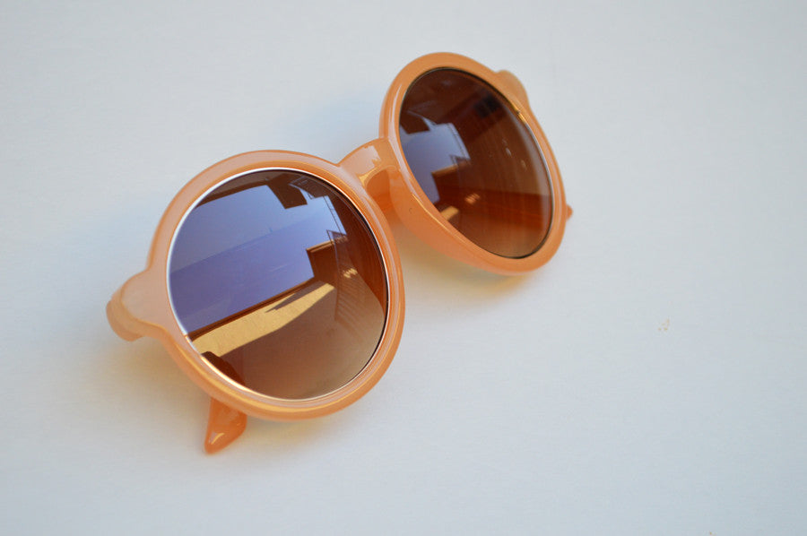 Round Oversized Sunglasses in Peach With Gold Accents side