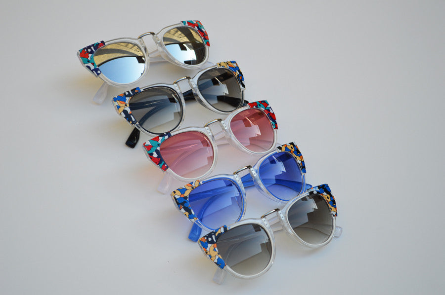 Round Cateyes Retro Inspired Pop Art Summer Colorful Sunglasses