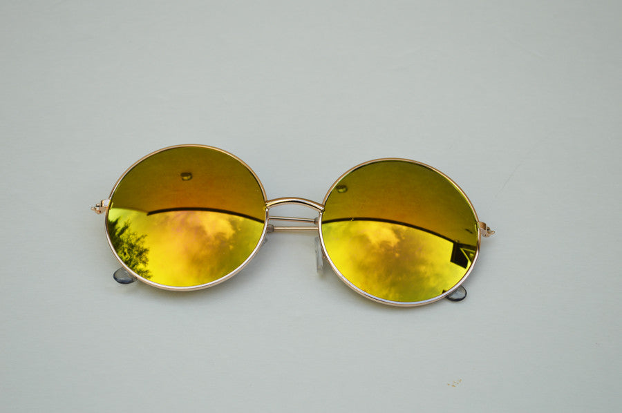 John Lennon Round Unisex Sunglasses In Rainbow gold