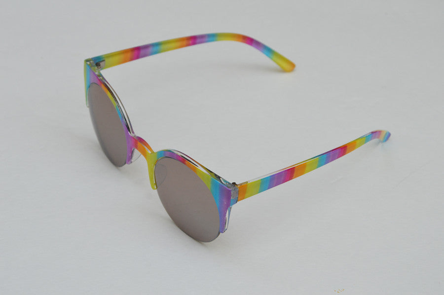 Round Half Frame Rainbow Metallic Lense Kawaii top