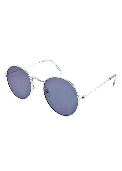 Round Metallic Mirror Sunglasses Silver