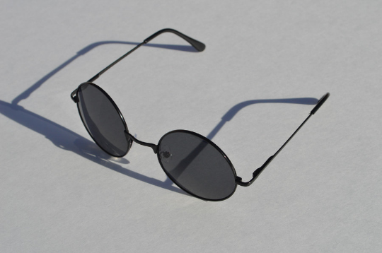 John Lennon sunglasses in round black shadow view
