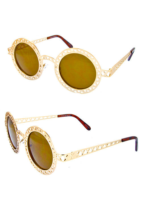 Round Metallic Cut out Dark Lense Sunglasses Gold