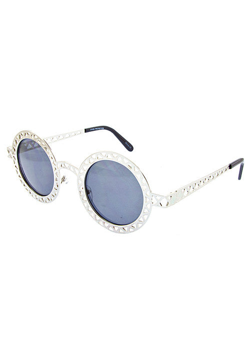 Round Metallic Cut out Dark Lense Sunglasses Silver