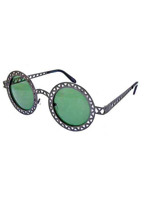 Round Metallic Cut out Dark Lense Sunglasses Gunmetal