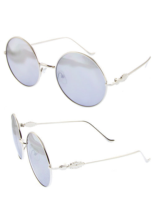 Round Metal frame Great Gatsby inspired Sunglasses Silver