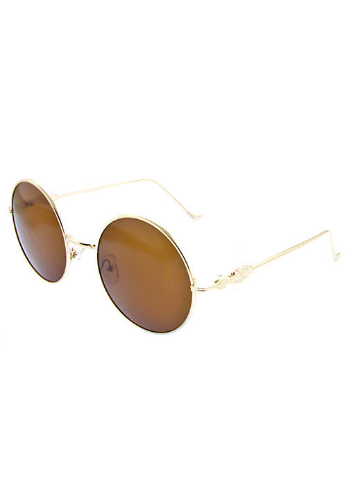 Round Metal frame Great Gatsby inspired Sunglasses Gold