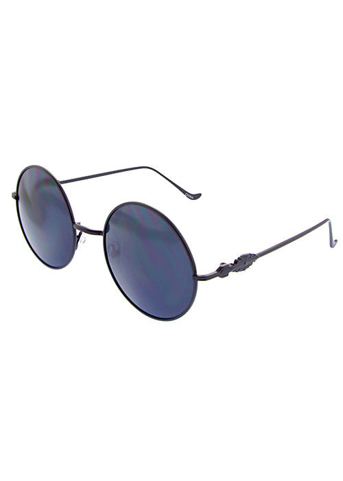 Round Metal frame Great Gatsby inspired Sunglasses Black
