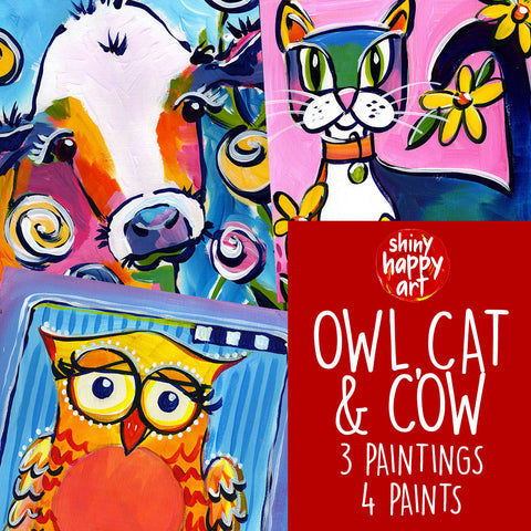 Online Paint Along - Owl, Cat and Cow