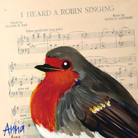 'I Heard a Robin Singing' Original Acrylic Painting (Day 5 release)