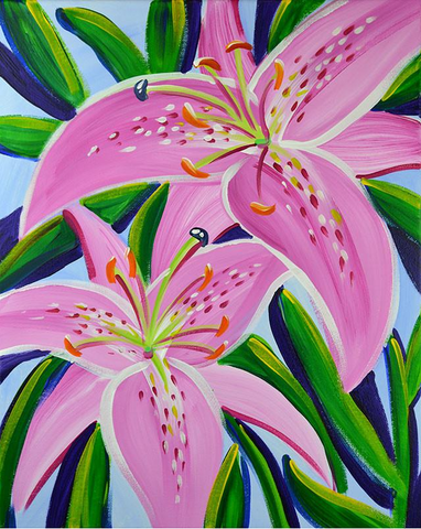 STUDIO PAINTING PARTY - Oriental Lilies - SUN 19 AUG, 1-4PM
